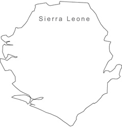 Black White Sierra Leone Outline Map vector image