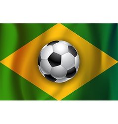 Brazilian country flag with soccer football ball vector
