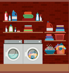Brick wall background of clothes with wash vector