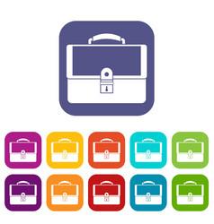 Briefcase icons set vector