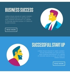 Business start up horizontal website templates vector
