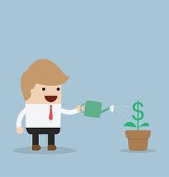 Businessman watering dollar plant vector