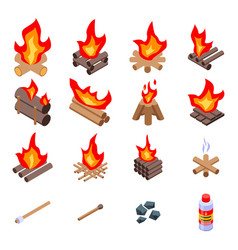 Campfire icons set isometric style vector