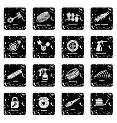 Car repair parts icons set grunge vector