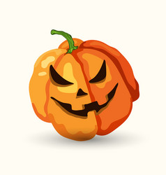 Cartoon halloween horribly face pumpkin on white vector