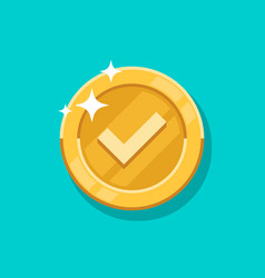 check mark gold coin icon flat cartoon vector image