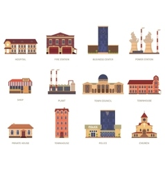 City buildings vintage icons set vector