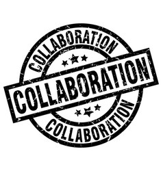 Collaboration round grunge black stamp vector