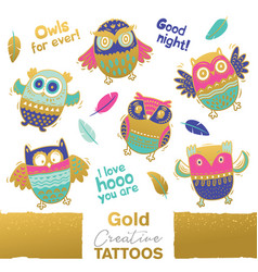 Collection funny owls with golden vector