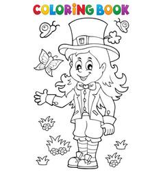 Coloring book leprechaun girl theme 1 vector