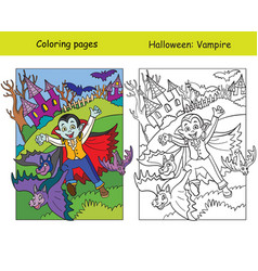 Coloring with colored example halloween vampire vector