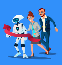competition robot first came to the finish line vector image
