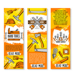 Construction handy work tools banners vector