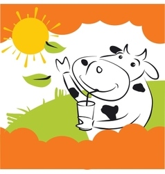 Cow With Green Leaves vector image