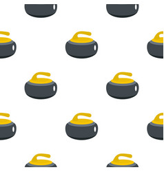 Curling stone with yellow handle pattern flat vector