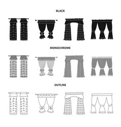 Curtains and drapes icon vector