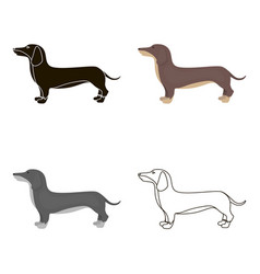 Dachshund icon in cartoon style for web vector