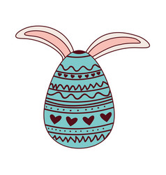 easter egg with rabbit ears isolated icon vector image