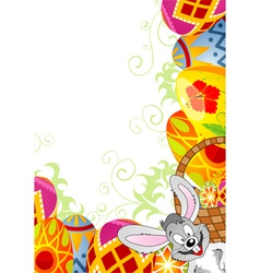 easter frame with eggs vector image