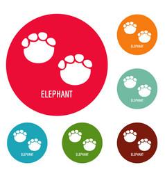 elephant step icons circle set vector image