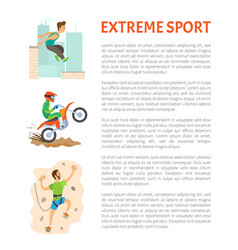 extreme sport poster motorbiking and parkour vector image
