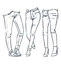 fashionable skinny denim jeans outline vector image