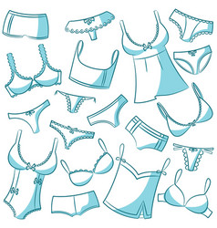 female underwear doodle icons vector image