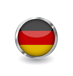flag of germany button with metal frame and vector image