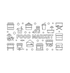 Food market horizontal banner street food vector