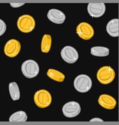 gold and silver coins seamless pattern on black vector image