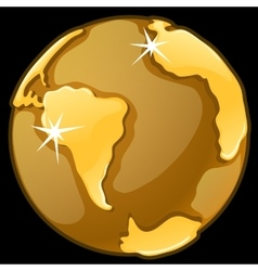 Gold globe on a black background vector image