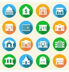 Government Buildings Icons Flat vector image