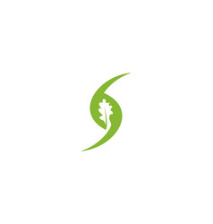 green oak negative space logo designs inspiration vector image
