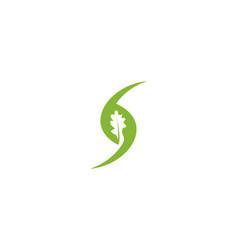 green oak negative space logo designs inspiration vector image