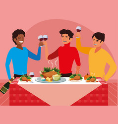 Group of men celebrating thanksgiving vector