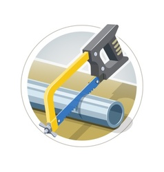 Hacksaw cut metallic pipe vector