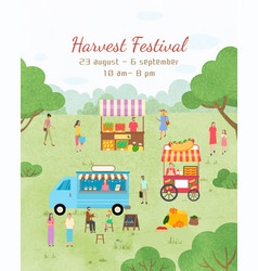 harvest festival poster dates invitation to event vector image