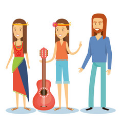 Hippie people design vector