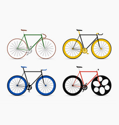 Hipster single speed bikes set city bicycles vector