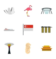 Holiday in Singapore icons set flat style vector