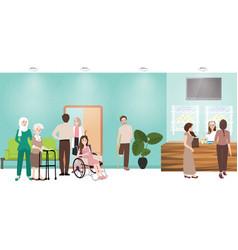 Hospital waiting room clinic lobby reception vector