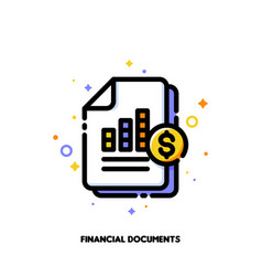 icon financial statement analysis documents vector image