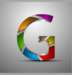 isolated 3d logometallic letter g with colored vector image