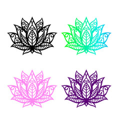 isolated lotus silhouette black flower icon yoga vector image