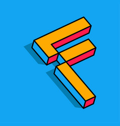Isometric f letter f 3d logo vector