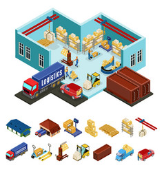 Isometric warehouse concept vector