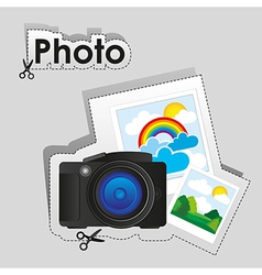 Label digital camera and some photographs vector