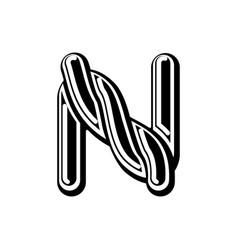 Letter n celtic font norse medieval ornament abc vector