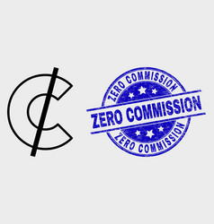 linear cent icon and distress zero vector image