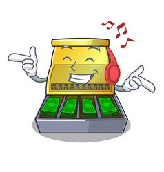 Listening music cash register with lcd display vector